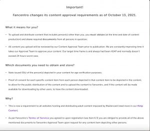 Fancentro issues content approval notice to all content creators today